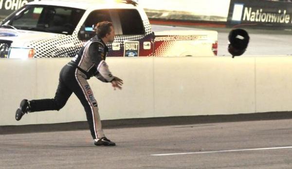 Tony Stewart Helmet Throwing Bristol Motor Speedway 2012 Night Race