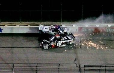 2011 Kyle Busch Crashes Ron Hornaday NASCAR Truck Series Texas Motor Speedway