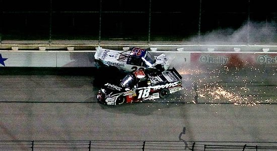 NASCAR TRUCK: Kyle Busch Wrecks Championship Contender Ron Hornaday Under Caution (VIDEO)