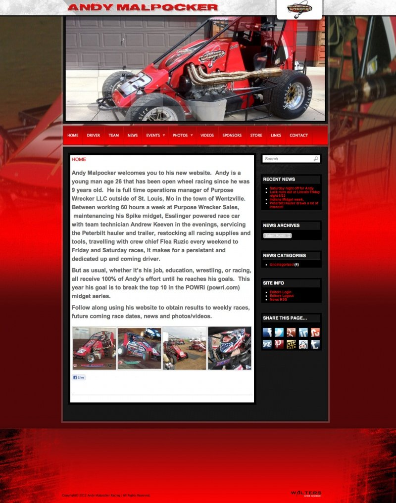 2012 Andy Malpocker - Created by Walters Web Design