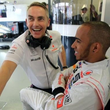 2012 Lewis Hamilton and Team Boss Martin Whitmarsh
