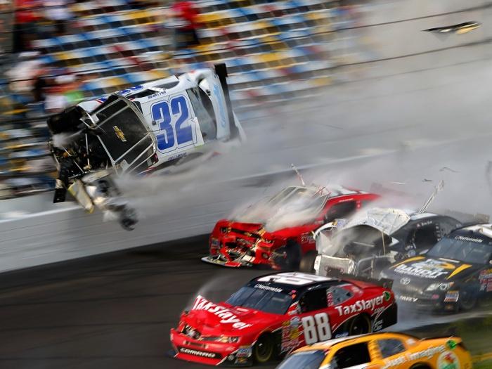 2013 Kyle Larson Crash - Daytona International Speedway (NASCAR Nationwide Series)
