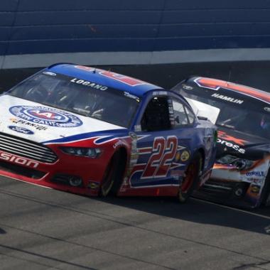 Joey Logano and Denny Hamlin Crash - Auto Club Speedway (NASCAR Cup Series) B