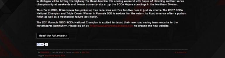 SCCA F1000: SCCA National Champion Driver Brian Novak New Website