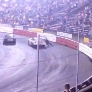 Racing Driver Mike Robertson Dragged By Derek Stoltz Car At Bowman Gray Stadium
