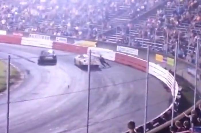 Racing Driver Mike Robertson Dragged By Derek Stoltz Car At Bowman Gray Stadium
