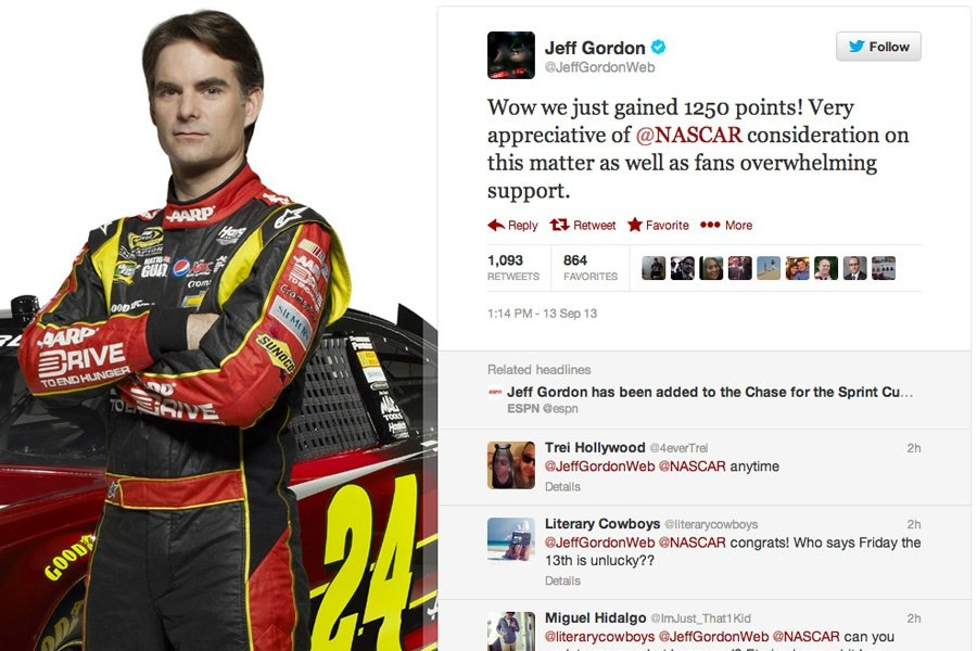 Jeff Gordon Added To The Chase ( NASCAR CUP ) Twitter