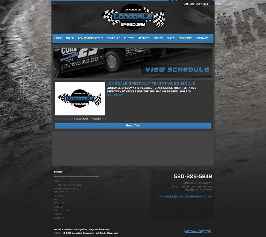 Longdale Speedway - Walters Web Design ( 2014 Website Designs )