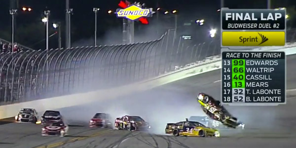 Daytona Duels Results - Clint Bowyer Flip