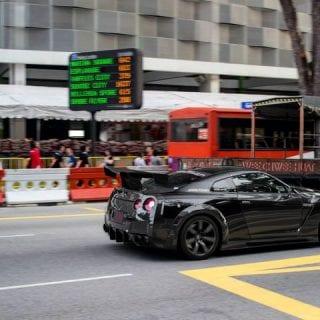 Speeding Nissan GT-R