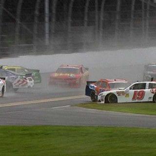 Daytona Rain Causes Surprise NASCAR Pileup Video