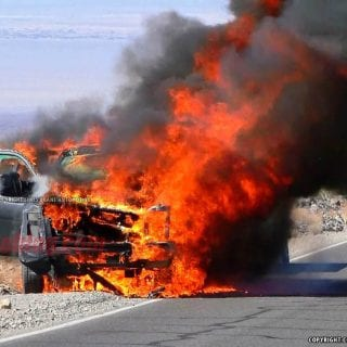 2016 Ford Truck Explodes In Death Valley 12-1