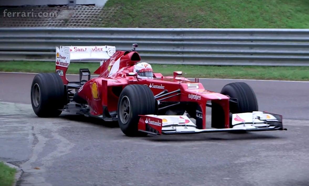 Sebastian Vettel Driving Ferrari F1 Car