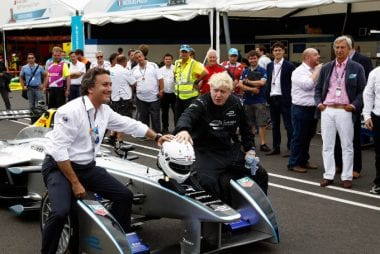 London Mayor Boris Johnson Drives Formula E Racecar