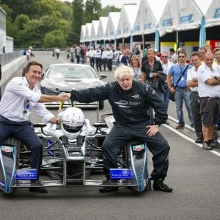 London Mayor Boris Johnson Drives Formula E Racecar Photos