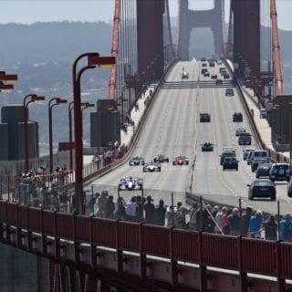 Indy Cars Drive Golden Gate Bridge Indycar