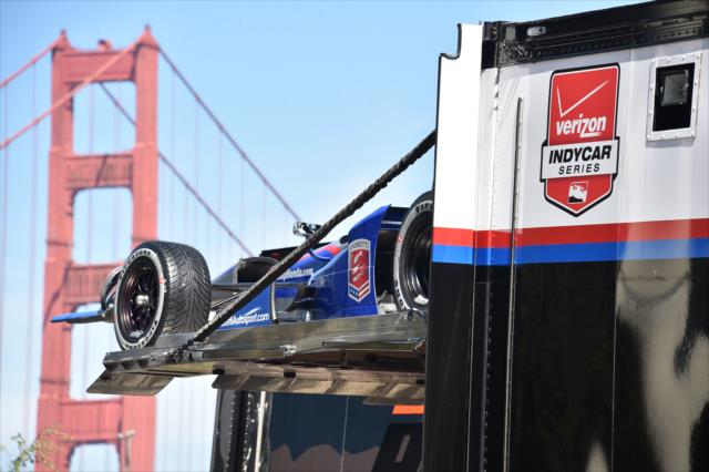 Indy Cars Drive Golden Gate Bridge Photo