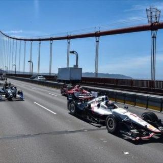 Indy Cars Drive Golden Gate Bridge Photos