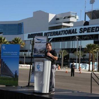 Solar Panels And Sign On 400 Million Daytona Rising Project