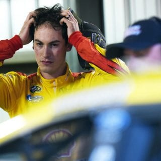 Joey Logano after crash with matt kenseth