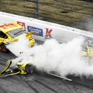 Joey Logano vs Matt Kenseth Crash At Martinsville Speedway NASCAR race