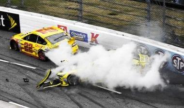 Joey Logano vs Matt Kenseth Crash At Martinsville Speedway NASCAR race