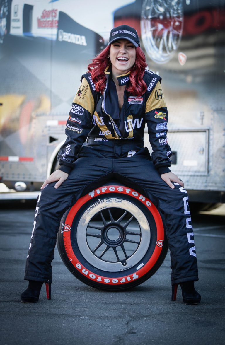 Sharna Burgess gets a ride in Indycar from Dancing with ...