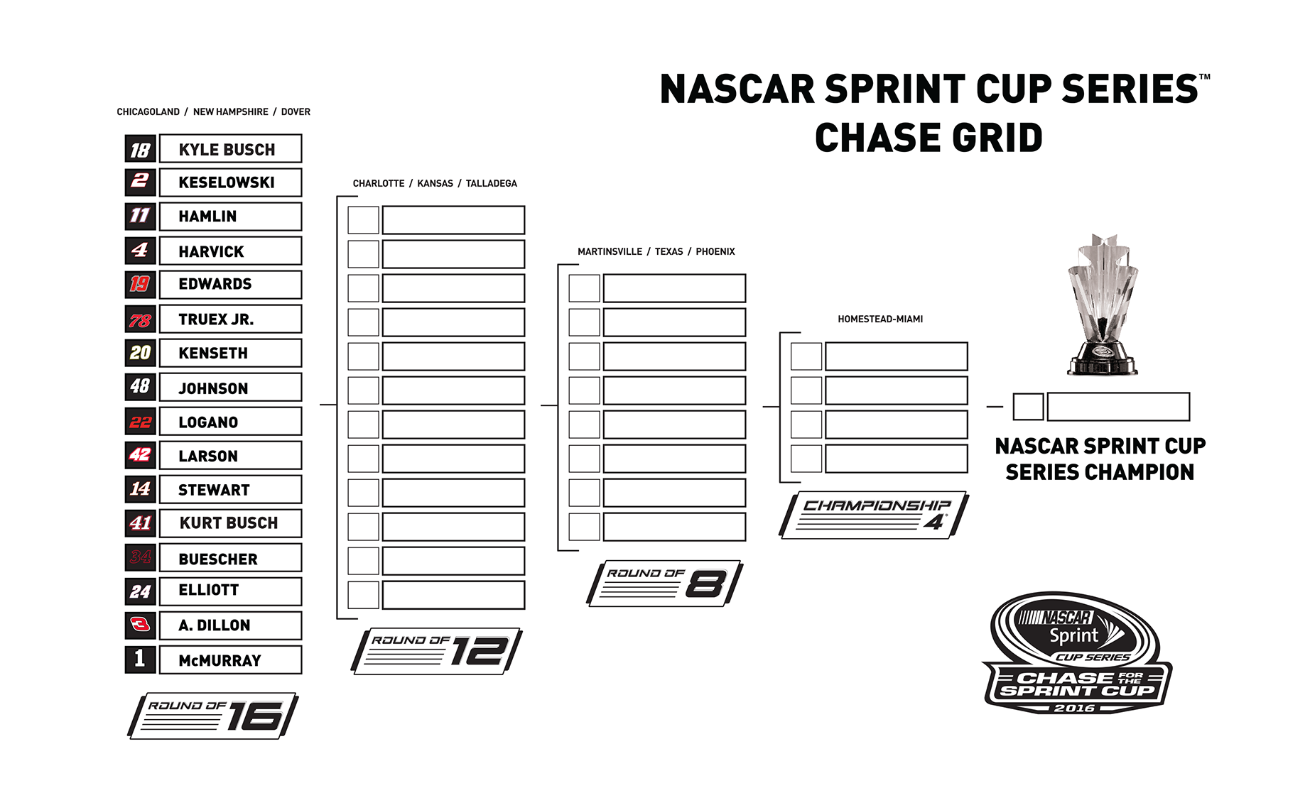 This is a photo of Remarkable Nascar Chase Grid Printable