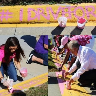 American Cancer Society, Chevy Racing and Danica Patrick paint Martinsville Speedway curbs pink for Breast Cancer Awareness