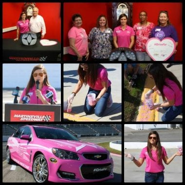 Danica Patrick paint Martinsville Speedway curbs pink for Breast Cancer Awareness