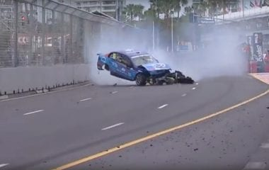 Garth Tander vs Fabian Coulthard Crash Video - Gold Coast 600 Crash