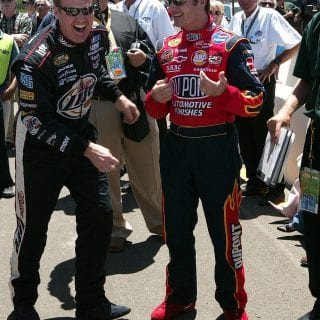 Rusty Wallace Laughing with Jeff Gordon Infineon 2004