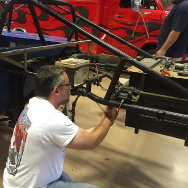tony stewart works on 2017 dirt racing cars