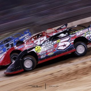 3 Wide Dirt Late Model Racing Photo 9174