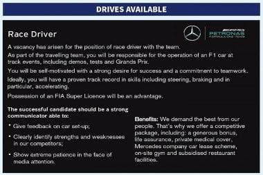 Mercedes Classified Ad - Autosport Magazine Driver Ad