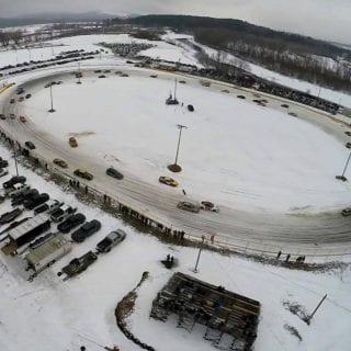 Speedway 51 Racetrack Covered in Snow - Car Ice Racing - 2017 Winter Blast 100