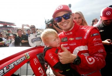 Kyle Larson Kid Victory Lane - Auto Club Speedway