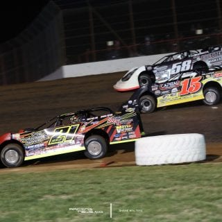 3 Wide Dirt Late Model Racing Photos 8837