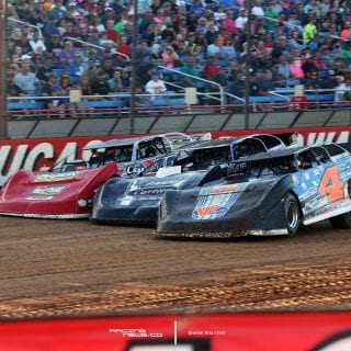 3 Wide Dirt Late Model Racing at the Show-Me 100 0206