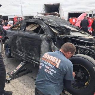 Brian Finney ARCA Racing Series Fire