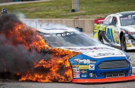 Toledo Speedway Fire – Driver Brian Finney extinguished his own fire in ARCA Racing Series