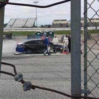 Brian Finney Toledo Speedway car Fire