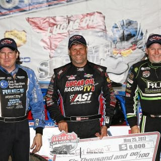 Earl pearson Jr Scott Bloomquist and Jimmy Owens Lucas Oil Speedway Cowboy Classis Podium 8954