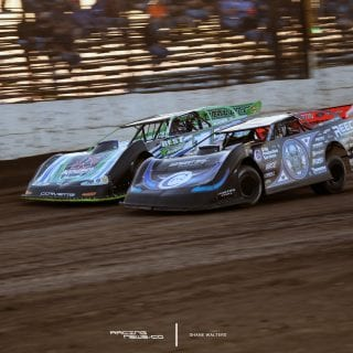 Scott Bloomquist Josh Richards Luas Oil Late Model Dirt Series race at LaSalle Speedway 6554