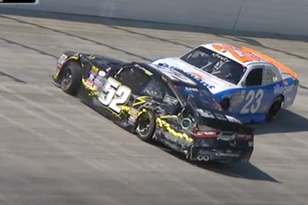 Joey Gase and Spencer Gallagher crash in Dover International Speedway practice