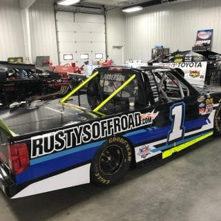 Jordan Anderson Racing NASCAR Team inside Dirt Racing Shop