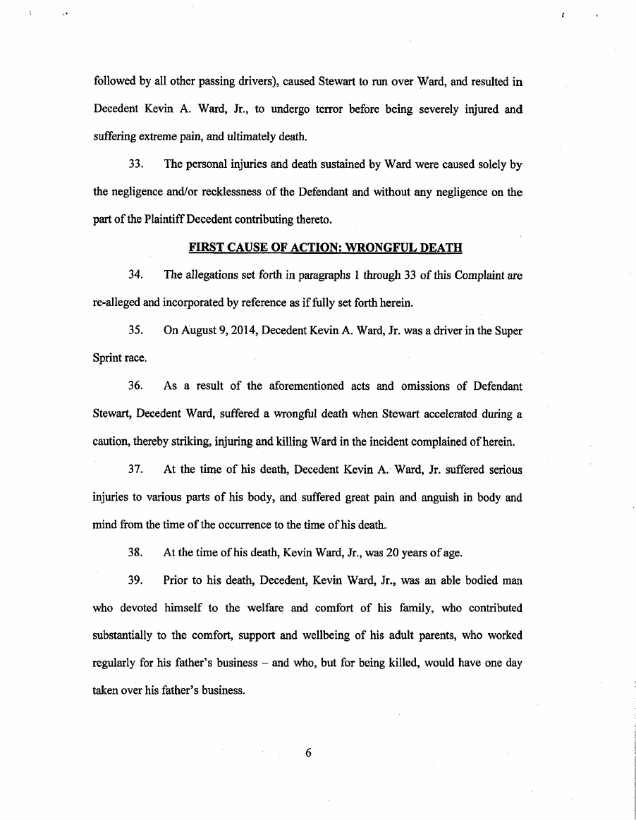 Kevin Ward JR Family vs Tony Stewart Lawsuit Page 7