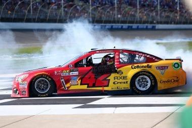 Kyle Larson Burnout in Victory Lane - Michigan International Speedway
