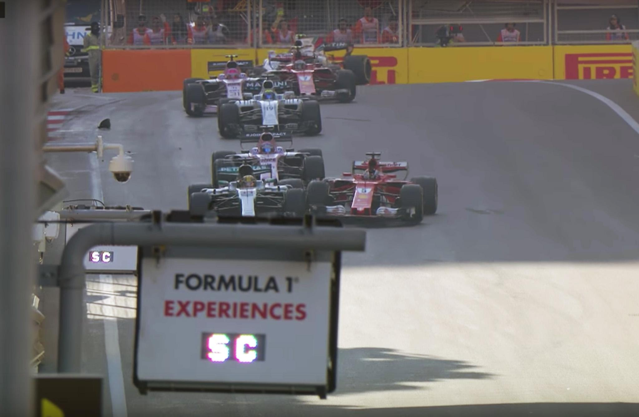 Sebastian Vettel vs Lewis Hamliton at Baku - Wreck under caution