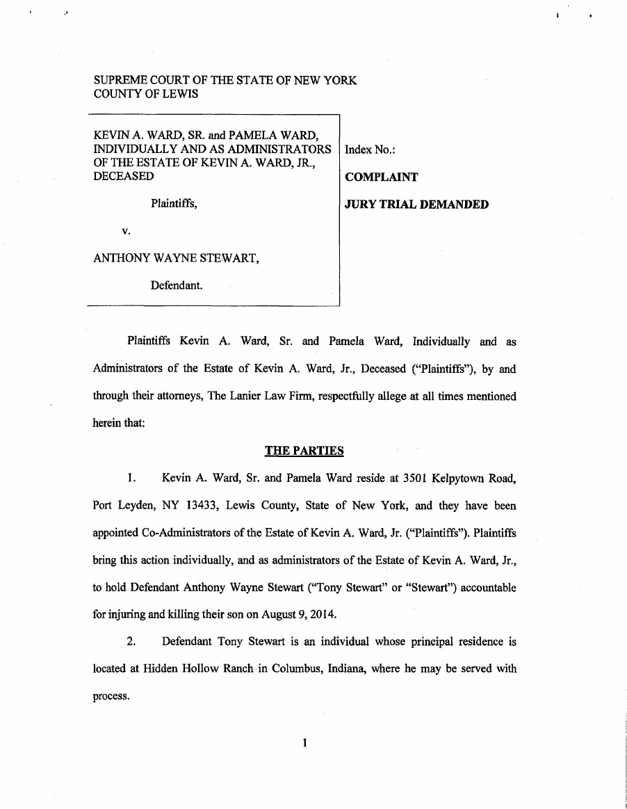 Tony Stewart Lawsuit Page 2